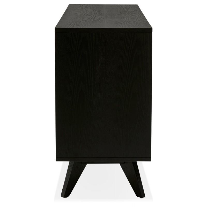 Buffet enfilade design 2 portes 3 tiroirs en bois  MELINA (noir) - image 49334