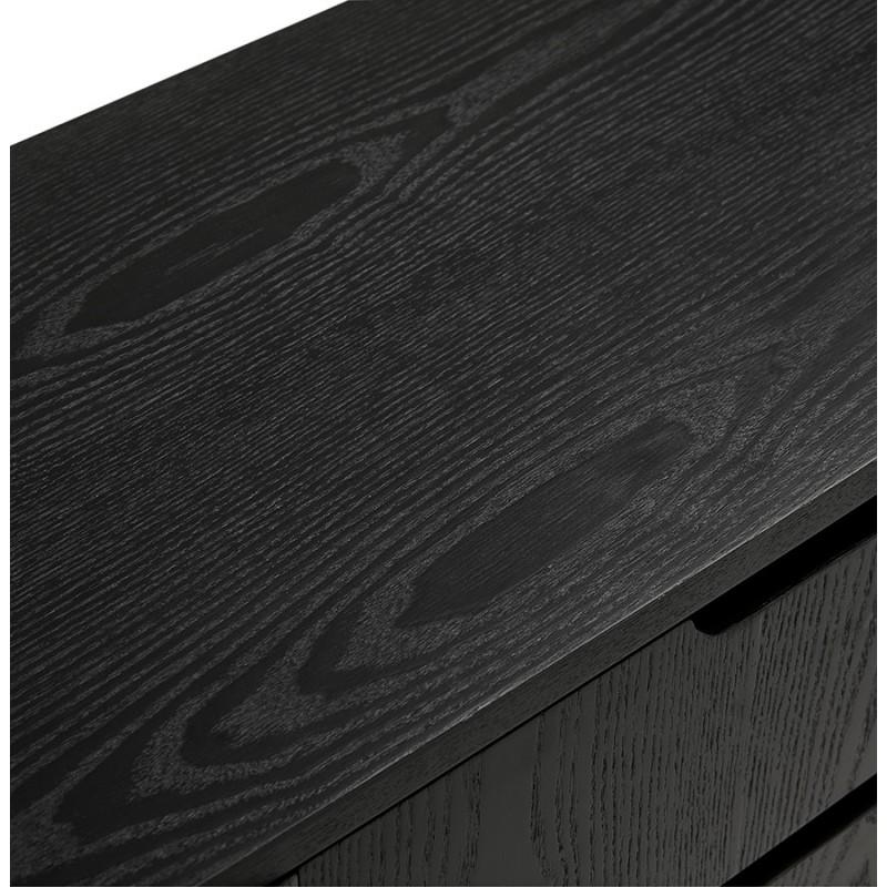 Buffet enfilade design 2 portes 3 tiroirs en bois  MELINA (noir) - image 49336