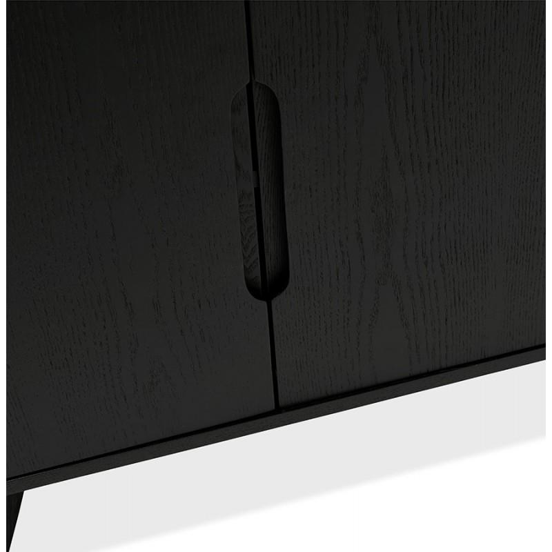 Buffet enfilade design 2 portes 3 tiroirs en bois  MELINA (noir) - image 49339