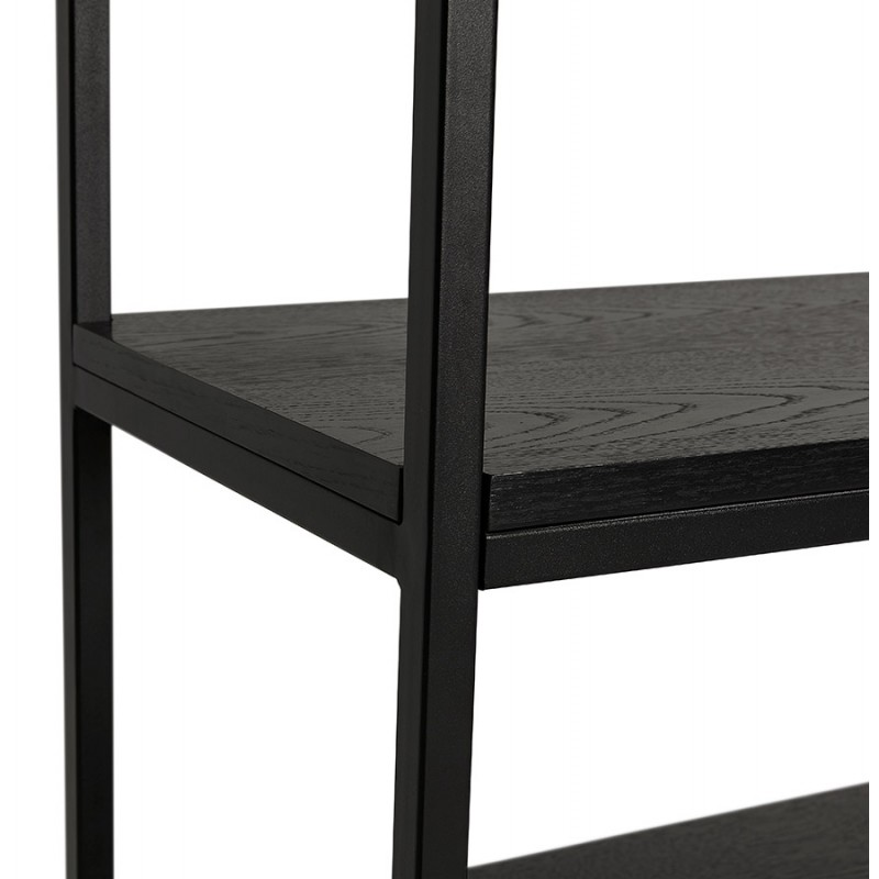 Diseño de biblioteca ampliada estilo industrial en madera y metal AKARI (negro) - image 49413