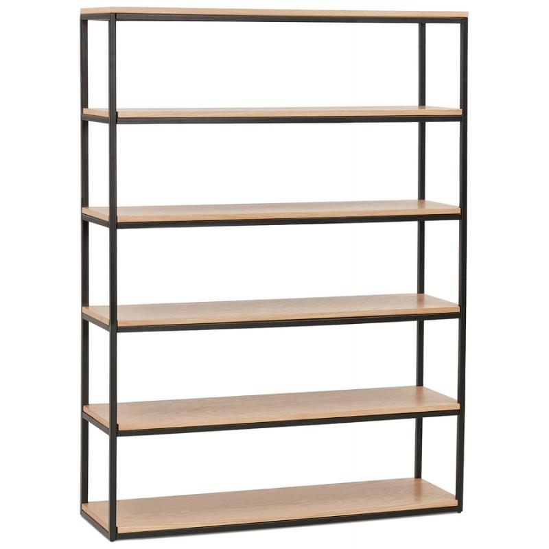 Design esteso biblioteca stile industriale in legno e metallo AKARI (naturale)