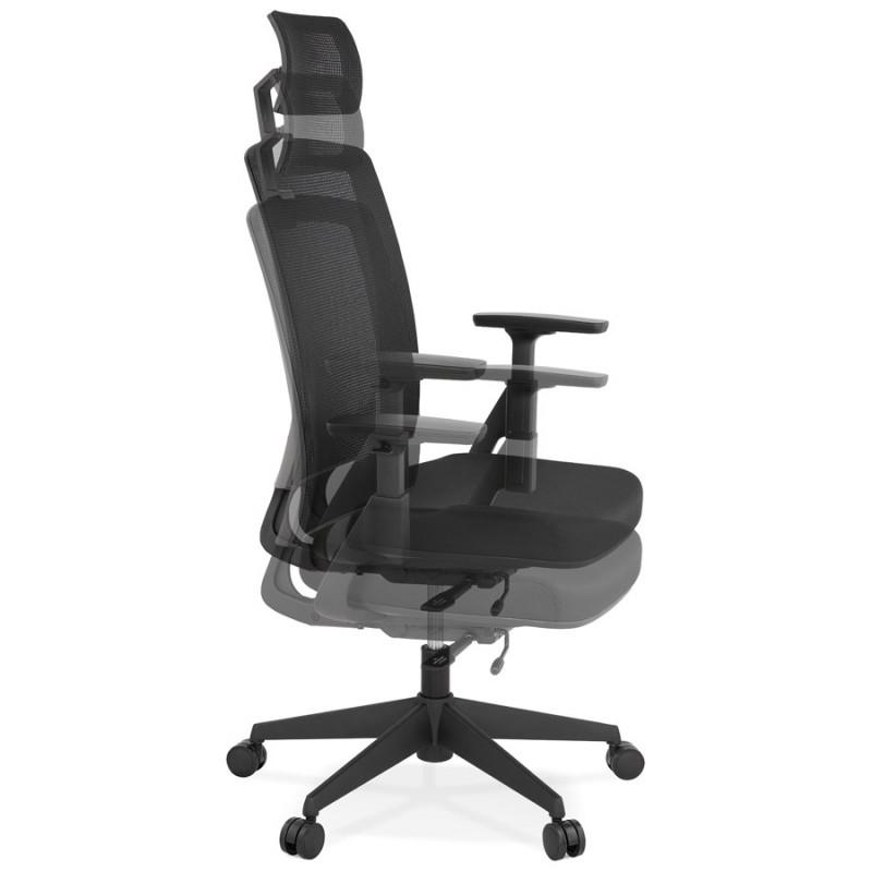Fauteuil de bureau ergonomique en tissu KAORI (noir) - image 49433