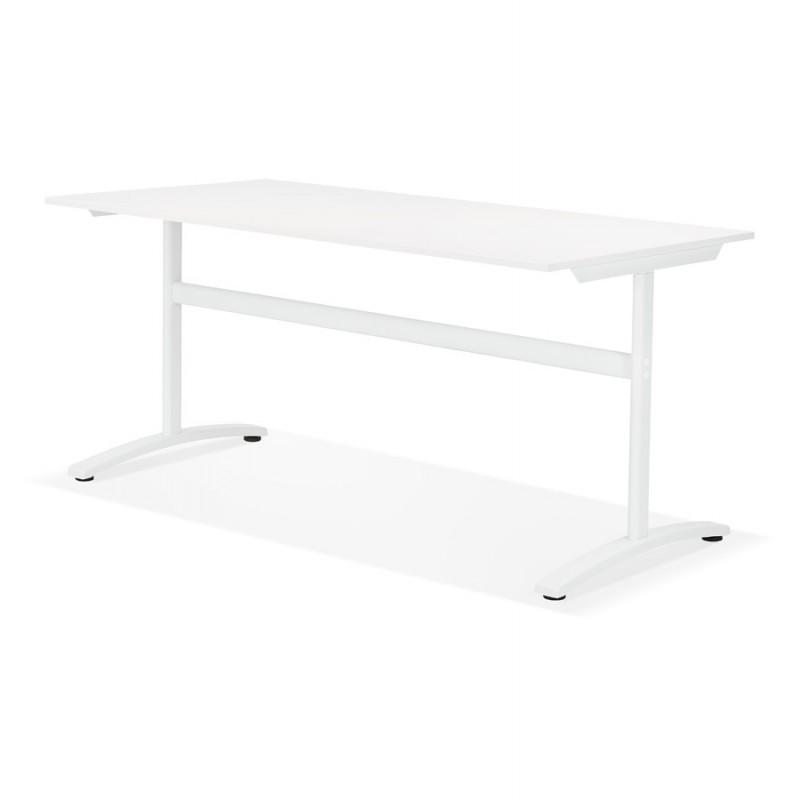 Bureau droit en bois pieds blanc SONA (160x80 cm) (blanc) - image 49503