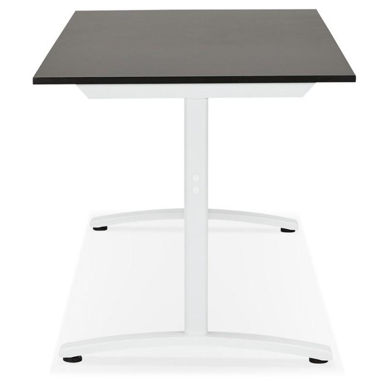 Bureau droit en bois pieds blanc SONA (160x80 cm) (noir) - image 49512