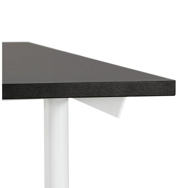 Bureau droit en bois pieds blanc SONA (160x80 cm) (noir) - image 49514