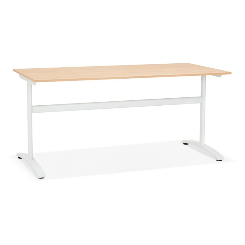 SONA white-footed wooden right desk (160x80 cm) (natural finish)