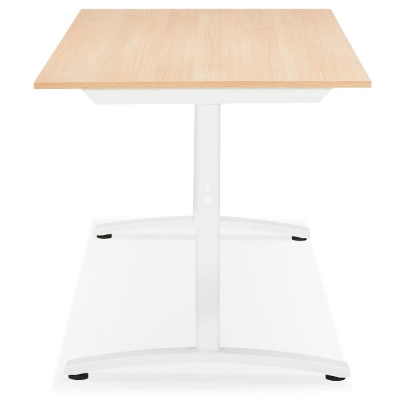 Bureau droit en bois pieds blanc SONA (160x80 cm) (finition naturelle) - image 49522