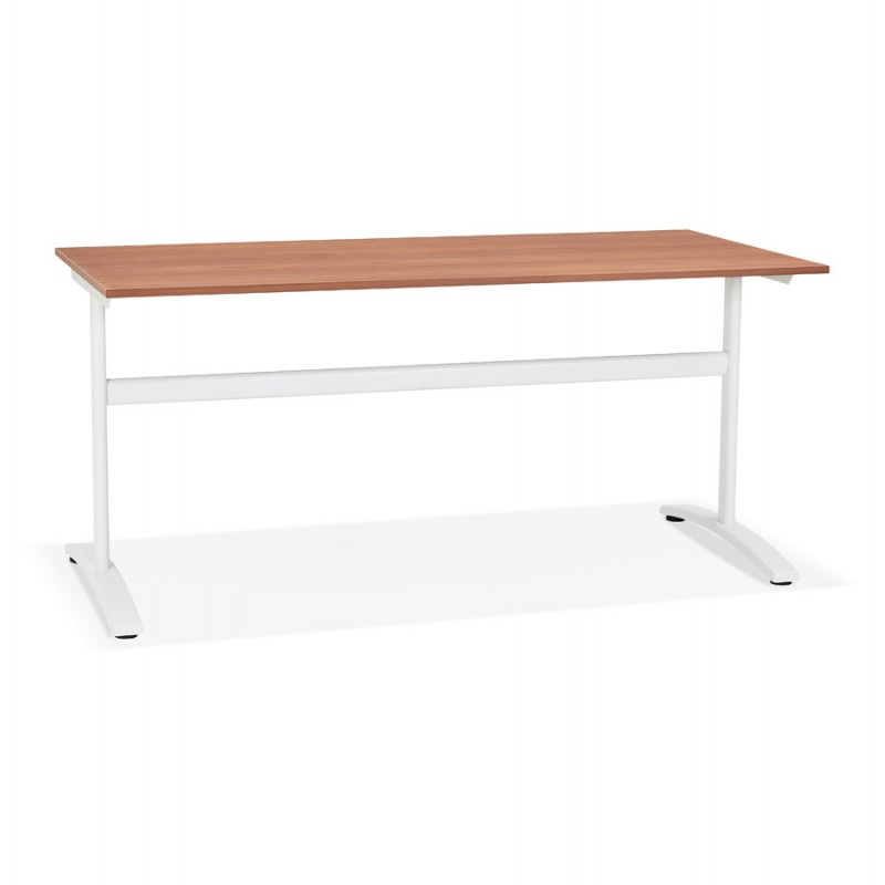 Gerader Schreibtisch aus Holz füße weiß SONA (160x80 cm) (Finnbe finish)