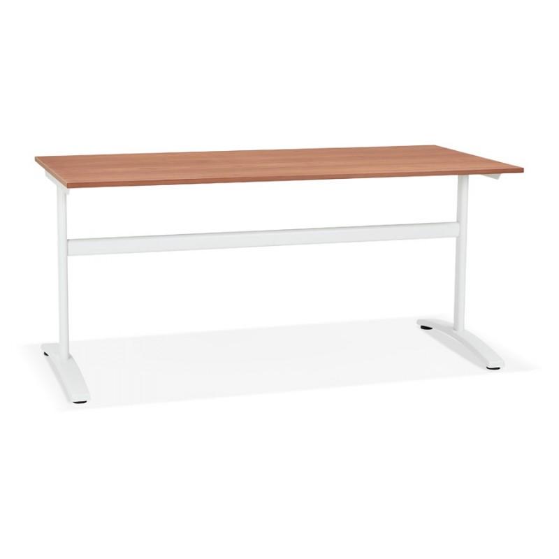 SONA scrivania destra in legno dai piedi bianchi (160x80 cm) (finitura in noce)