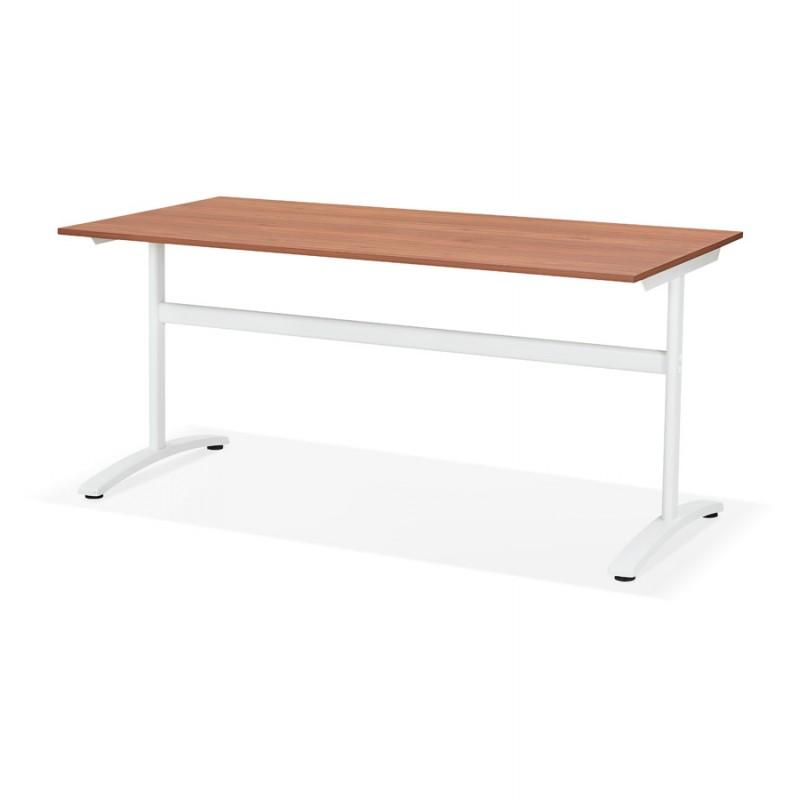 Gerader Schreibtisch aus Holz füße weiß SONA (160x80 cm) (Finnbe finish) - image 49533