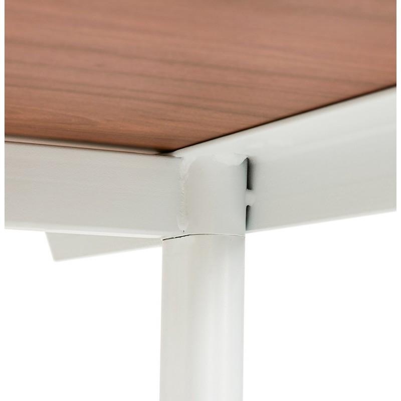 Bureau droit en bois pieds blanc SONA (160x80 cm) (finition noyer) - image 49536