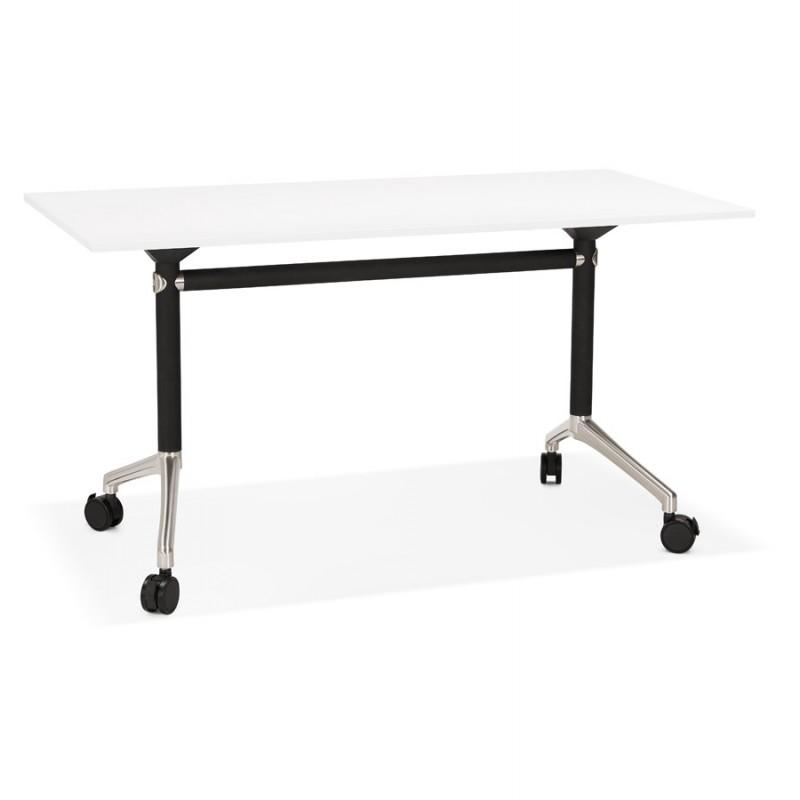 Table pliante sur roulettes en bois pieds noirs SAYA (140x70 cm) (blanc)