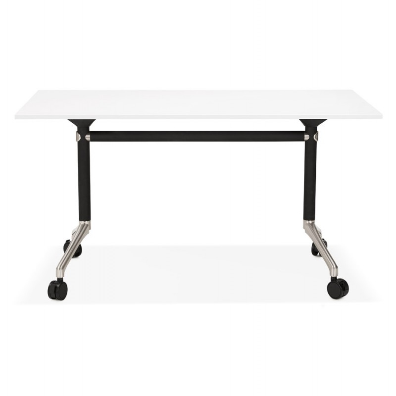 SAYA black-footed wooden wheely table (140x70 cm) (white) - image 49541