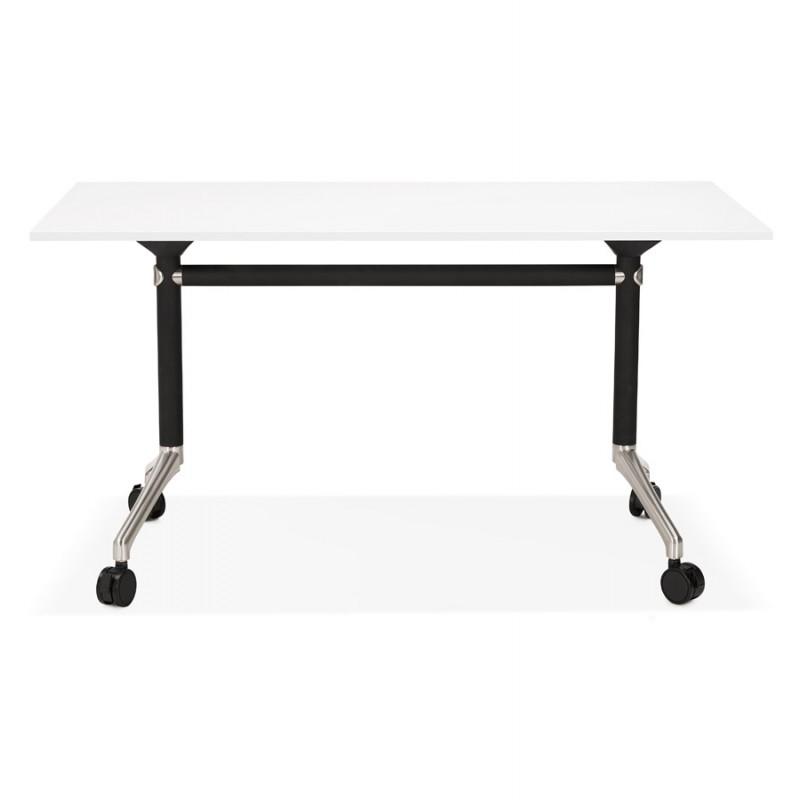 Table pliante sur roulettes en bois pieds noirs SAYA (140x70 cm) (blanc) - image 49541