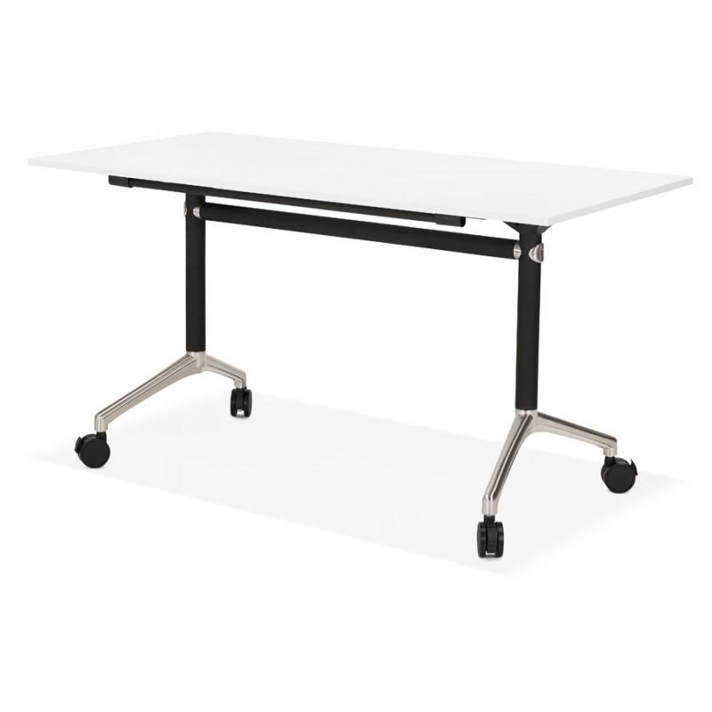 SAYA mesa de tarima de madera de patas negras (140x70 cm) (blanco) - image 49543