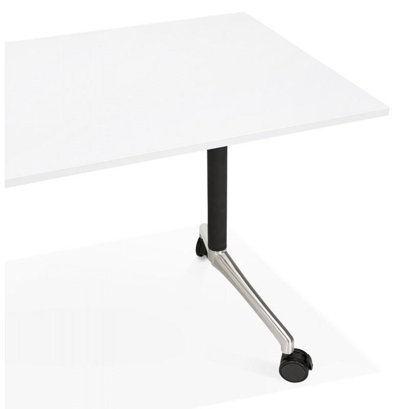 Table pliante sur roulettes en bois pieds noirs SAYA (140x70 cm) (blanc) - image 49546