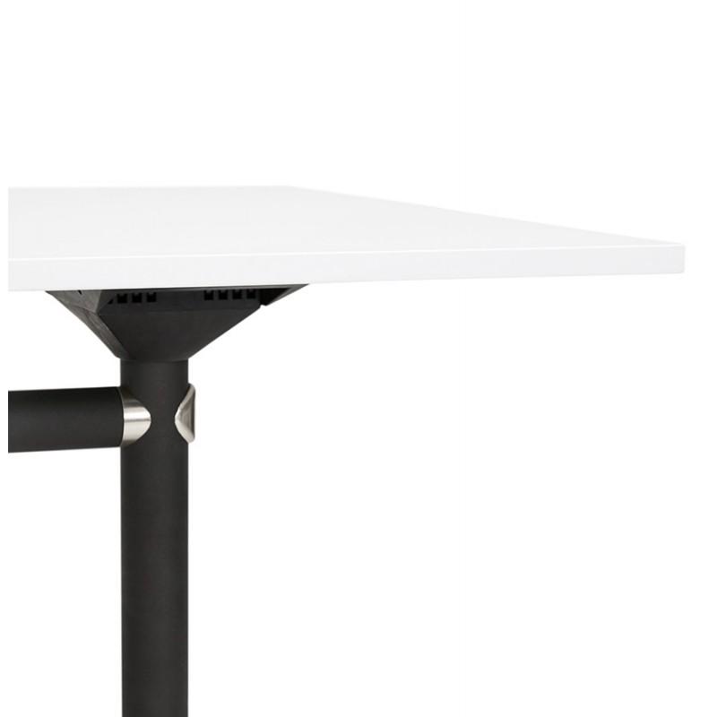 Table pliante sur roulettes en bois pieds noirs SAYA (140x70 cm) (blanc) - image 49547