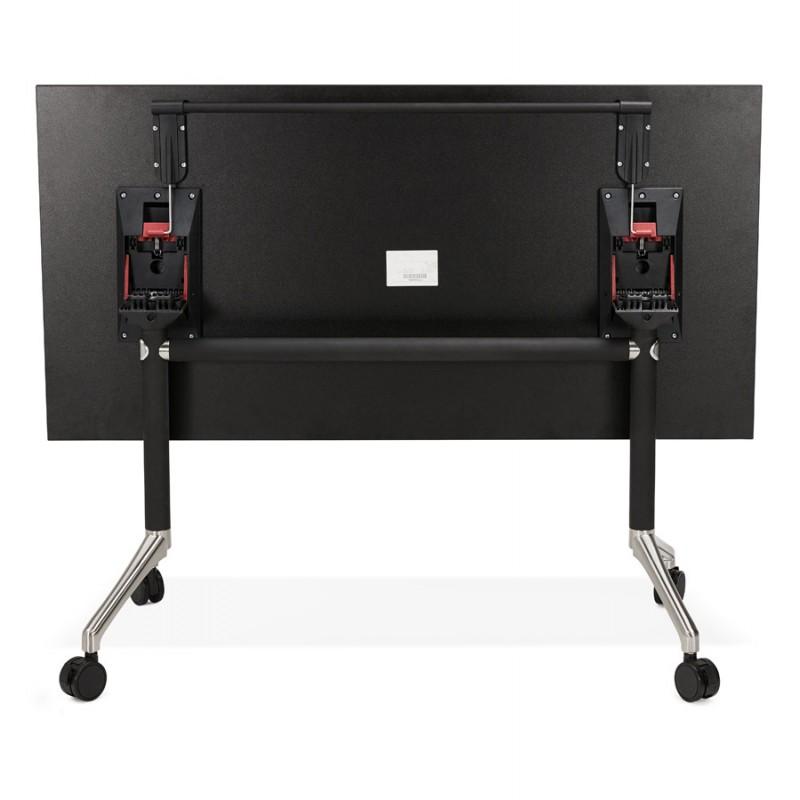 Table pliante sur roulettes en bois pieds noirs SAYA (140x70 cm) (noir) - image 49557