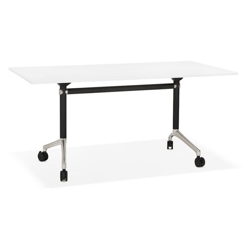 Tavolo a ruote in legno dai piedi neri SAYA (160x80 cm) (bianco)