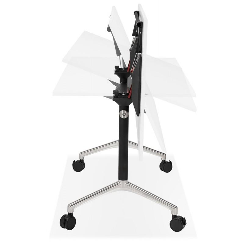 Table pliante sur roulettes en bois pieds noirs SAYA (160x80 cm) (blanc) - image 49571