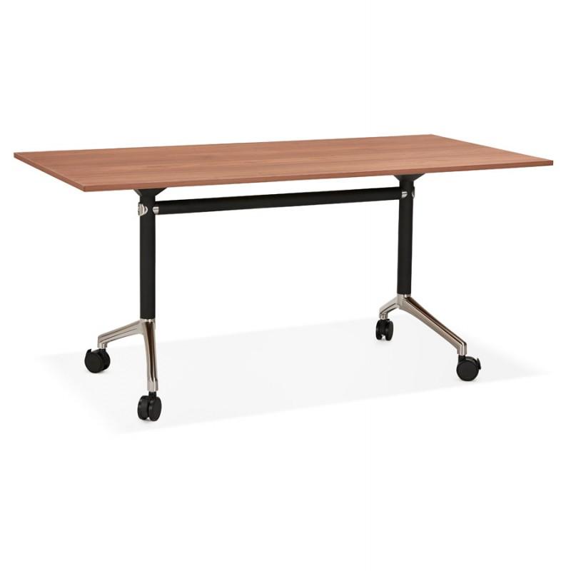 Table pliante sur roulettes en bois pieds noirs SAYA (160x80 cm) (finition noyer) - image 49581