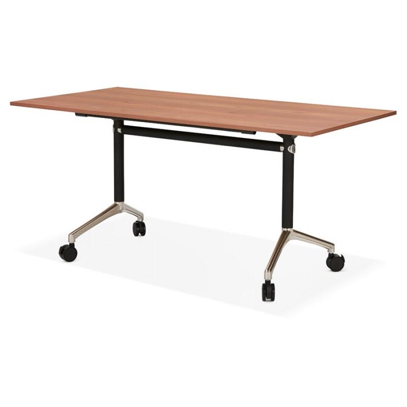 SAYA mesa de tarima de madera de patas negras (160x80 cm) (acabado de nogal) - image 49584