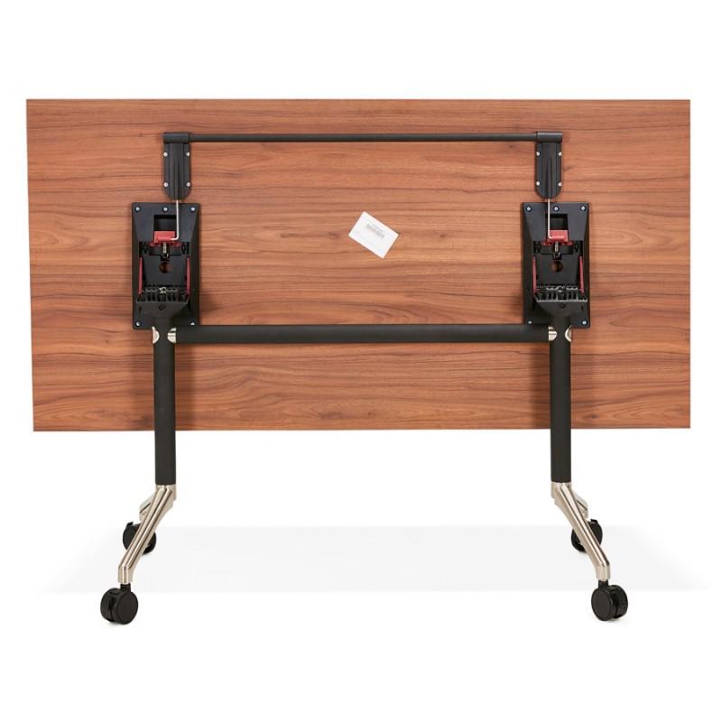 Table pliante sur roulettes en bois pieds noirs SAYA (160x80 cm) (finition noyer) - image 49585