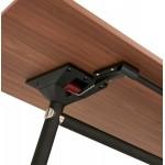 Table pliante sur roulettes en bois pieds noirs SAYA (160x80 cm) (finition noyer)