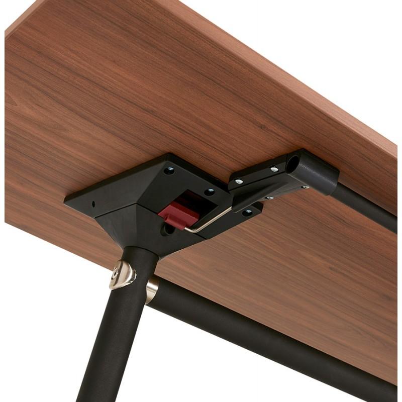 Table pliante sur roulettes en bois pieds noirs SAYA (160x80 cm) (finition noyer) - image 49590