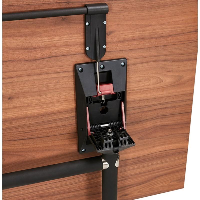 Table pliante sur roulettes en bois pieds noirs SAYA (160x80 cm) (finition noyer) - image 49591