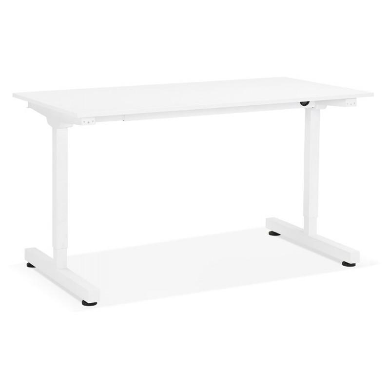 Bureau assis debout en bois pieds blanc cassé NAOMIE (140x70 cm) (blanc)