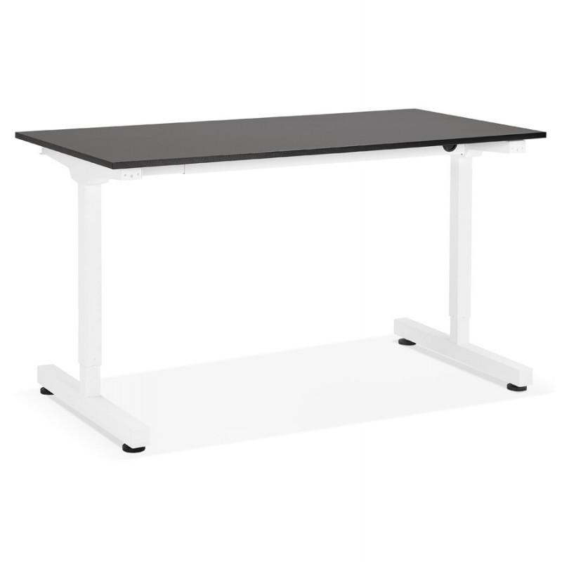 Bureau assis debout en bois pieds blanc cassé NAOMIE (140x70 cm) (noir)