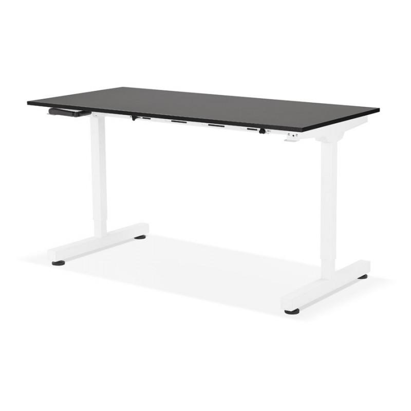 Bureau assis debout en bois pieds blanc cassé NAOMIE (140x70 cm) (noir) - image 49607