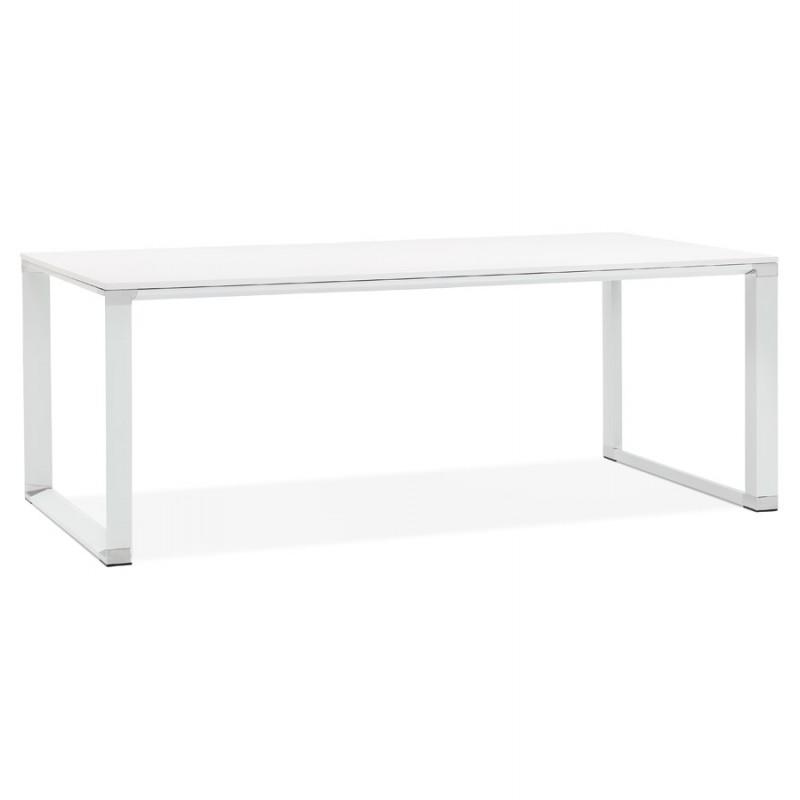 Disegno ufficio destro piedi bianchi in legno BOUNY (200x100 cm) (bianco)