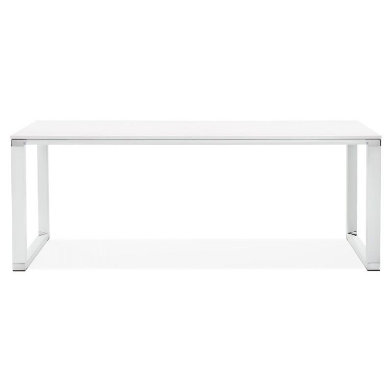 Bureau droit design en bois pieds blanc BOUNY (200x100 cm) (blanc) - image 49615