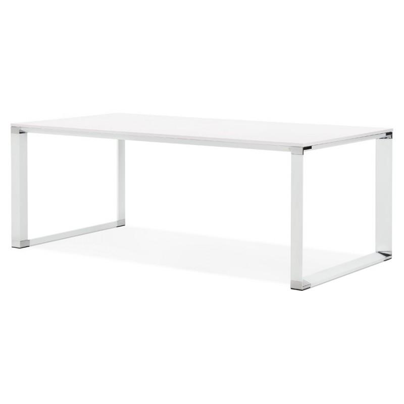 Bureau droit design en bois pieds blanc BOUNY (200x100 cm) (blanc) - image 49617