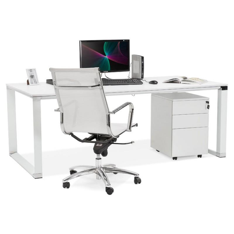 Bureau droit design en bois pieds blanc BOUNY (200x100 cm) (blanc) - image 49624