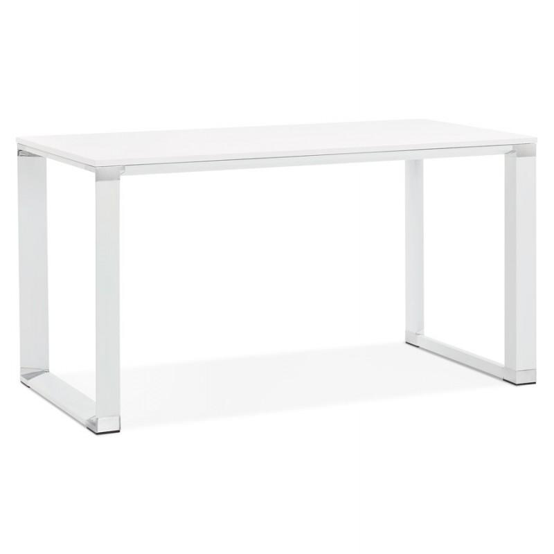 Bureau droit design en bois pieds blanc BOUNY (140x70 cm) (blanc) - image 49634