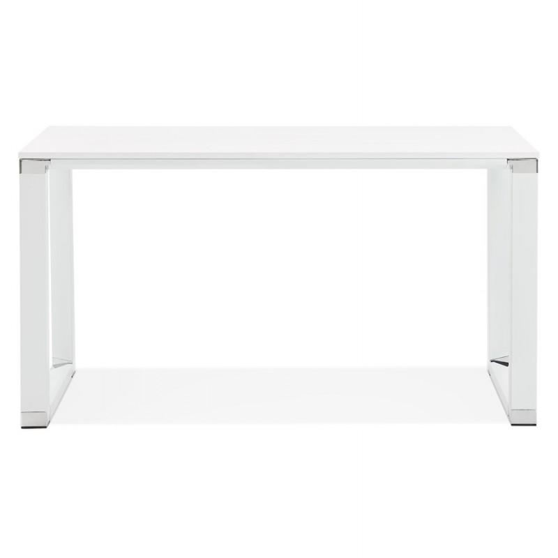 Bureau droit design en bois pieds blanc BOUNY (140x70 cm) (blanc) - image 49635