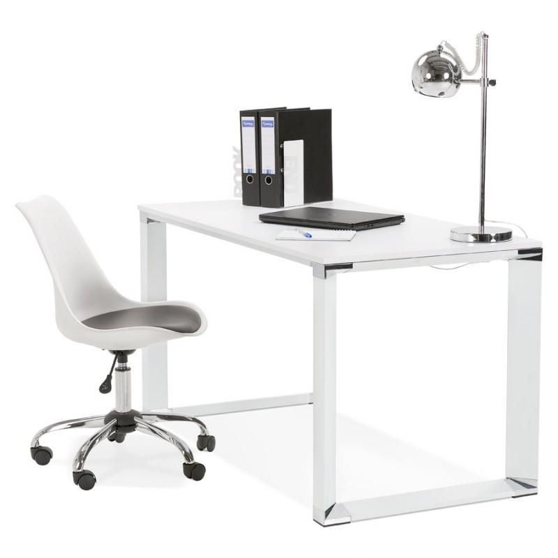 Bureau droit design en bois pieds blanc BOUNY (140x70 cm) (blanc) - image 49644
