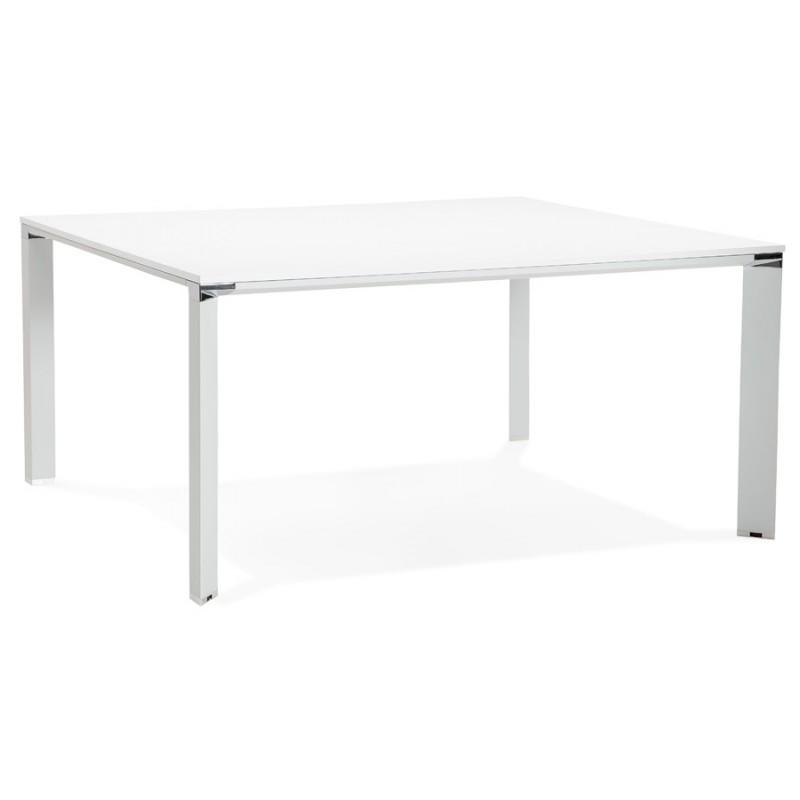 Bureau BENCH table de réunion moderne en bois pieds blanc RICARDO (160x160 cm) (blanc)