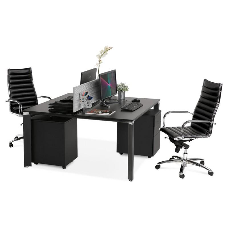 Bureau BENCH table de réunion moderne en bois pieds noirs RICARDO (160x160 cm) (noir) - image 49674
