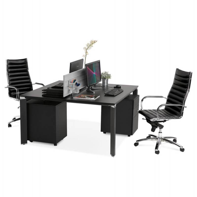 BENCH escritorio moderna mesa de reuniones pies negros de madera RICARDO (160x160 cm) (negro) - image 49674