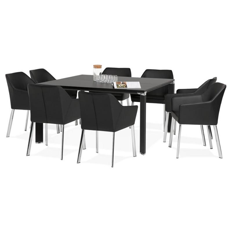 Bureau BENCH table de réunion moderne en bois pieds noirs RICARDO (160x160 cm) (noir) - image 49676