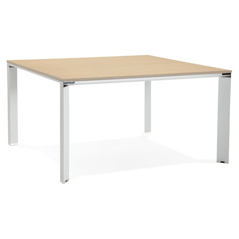 BENCH scrivania tavolo da riunione moderno piedi bianchi in legno RICARDO (140x140 cm) (naturale)