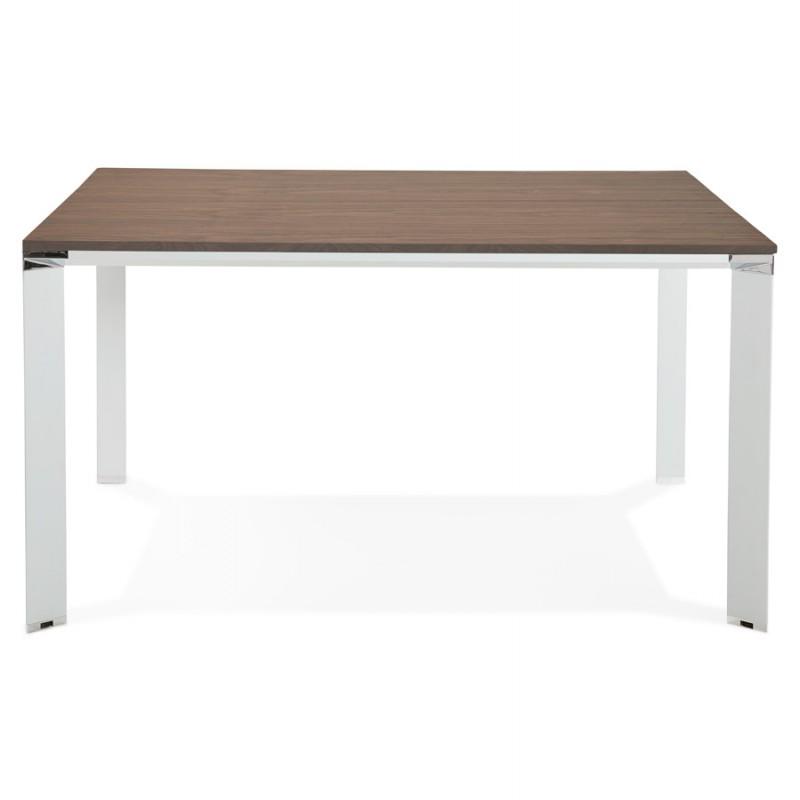Bureau BENCH table de réunion moderne en bois pieds blancs RICARDO (140x140 cm) (noyer) - image 49683
