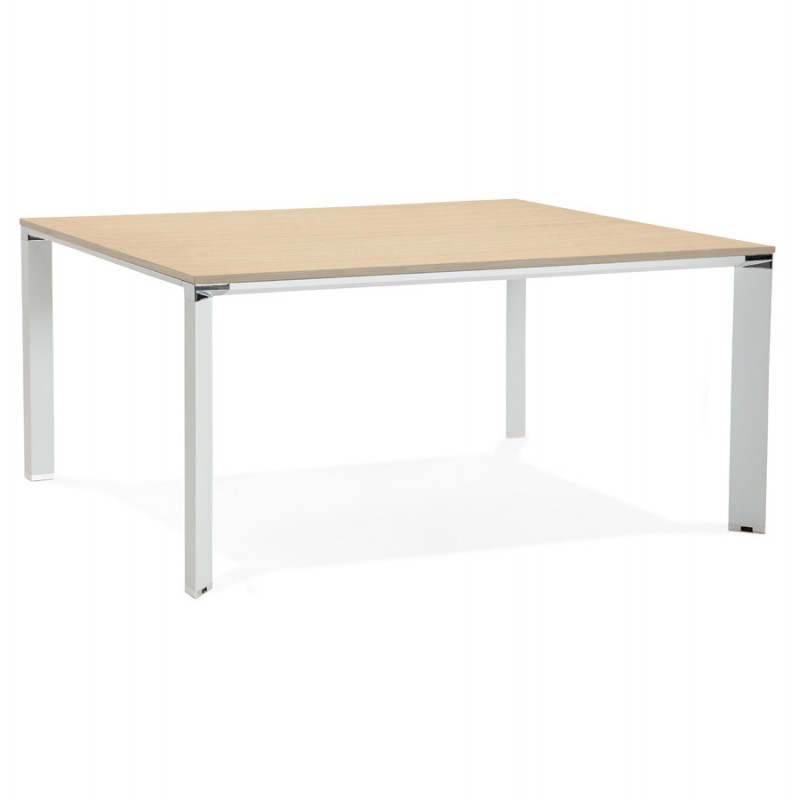 BENCH desk modern meeting table wooden white feet RICARDO (160x160 cm) (natural)