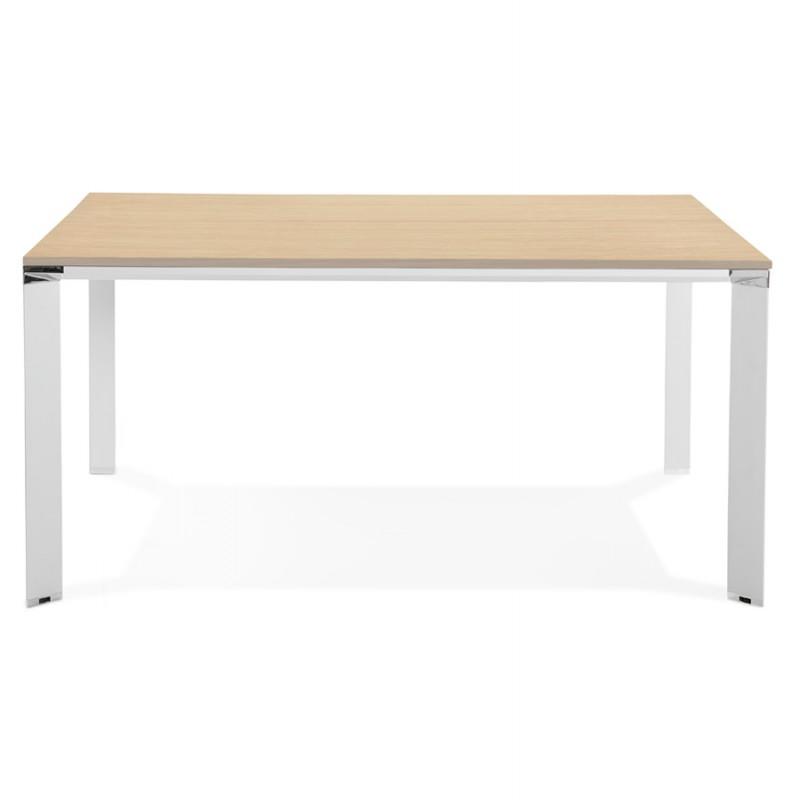 Bureau BENCH table de réunion moderne en bois pieds blancs RICARDO (160x160 cm) (naturel) - image 49700