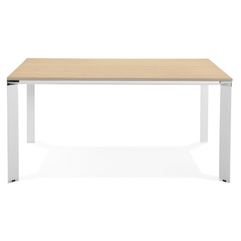 BENCH desk modern meeting table wooden white feet RICARDO (160x160 cm) (natural) - image 49700