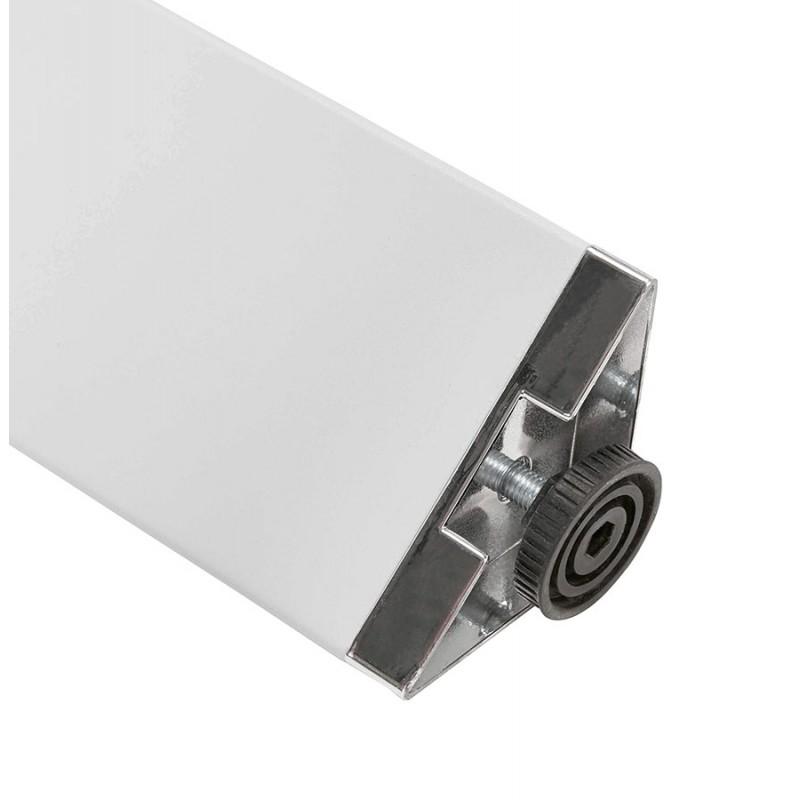 Bureau BENCH table de réunion moderne en bois pieds blancs RICARDO (160x160 cm) (naturel) - image 49703